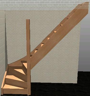 Klik op de trap die u nodig heeft en volg de instructies for Trap met kwartdraai